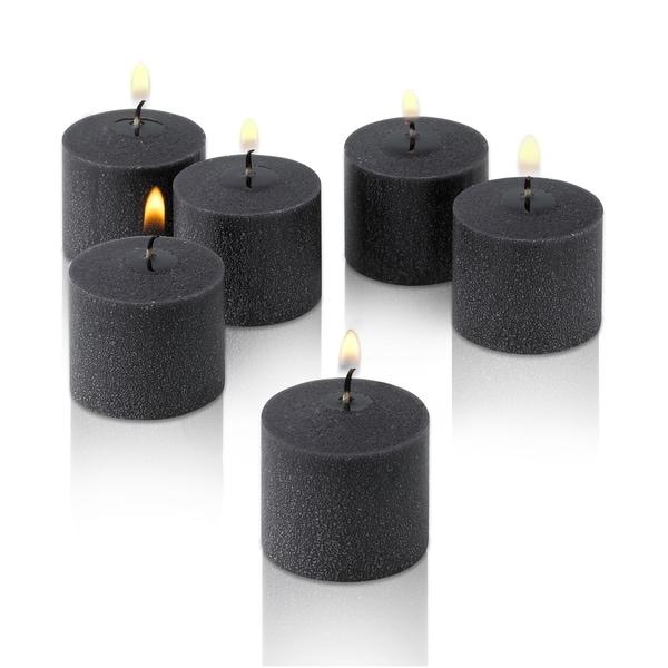 Black Unscented Votive Candles Set of 12 Burn 10 Hours