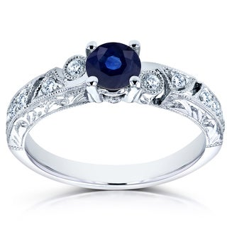 Annello by Kobelli 14k White Gold Sapphire and 1/5ct TDW Diamond Modern Engagement Ring (