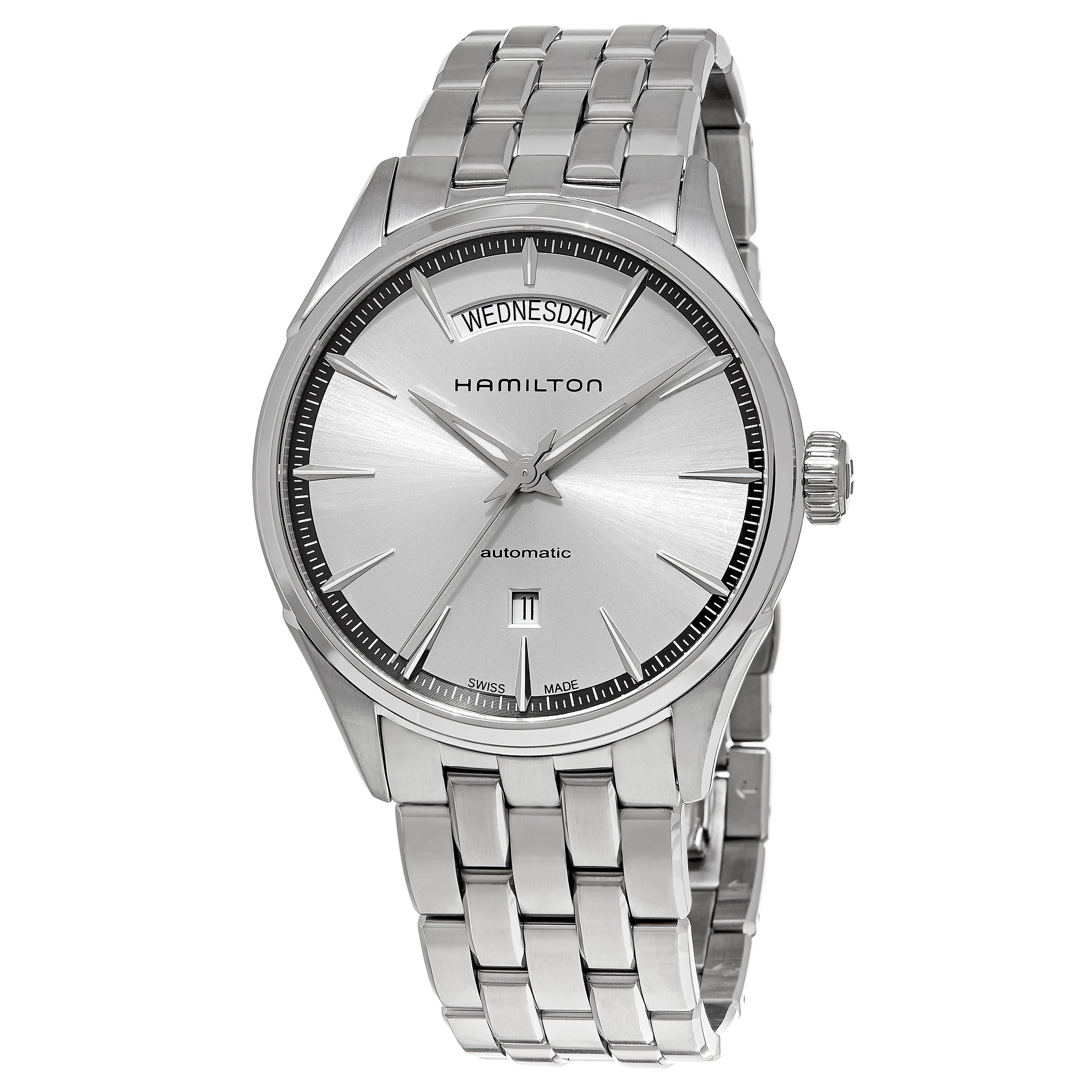 4bdab498738 Shop Hamilton Men s H42565151  Jazzmaster  Silver Dial Stainless Steel Day  Date Swiss Automatic Watch - Free Shipping Today - Overstock - 11586458