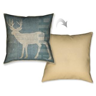 Laural Home Rustic Burlap Deer Decorative Pillow