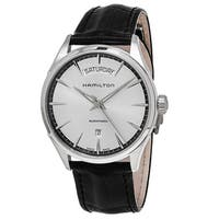 Hamilton Men's  'Jazzmaster' Silver Dial Black Leather Strap Day Date Swiss Automatic Watch