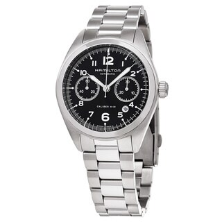 Hamilton Men's H76416135 'Khaki Aviation' Black Dial Stainless Steel Pilot Pioneer Chronograph Swiss Automatic Watch