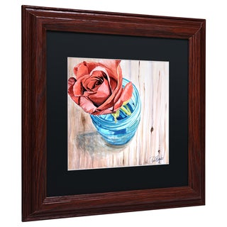 Jennifer Redstreake 'Rose in Jar' Matted Framed Art
