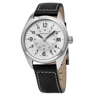 Hamilton Men's 'Khaki Field' Silver Dial Black Leather Strap Swiss Quartz Watch