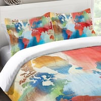 Laural Home Colorful World Map Standard Pillow Sham