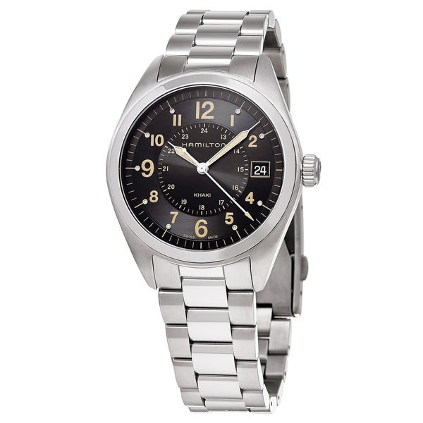 Hamilton Men's 'Khaki Field' Black Dial Stainless Steel GMT Swiss Quartz Watch