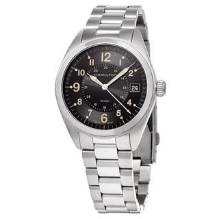 Hamilton Men's H68551133 'Khaki Field' Black Dial Stainless Steel GMT Swiss Quartz Watch