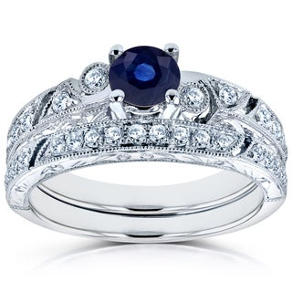 Annello by Kobelli 14k White Gold Sapphire and 1/3ct TDW Diamond Filigree Milgrain Bridal Set