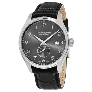 Hamilton Men's H42515785 'Jazzmaster' Grey Dial Black Leather Strap Small Second Swiss Automatic Watch