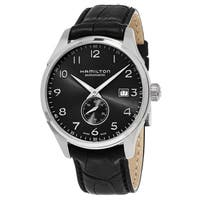 Hamilton Men's  'Jazzmaster' Black Dial Black Leather Strap Small Second Swiss Automatic Wa