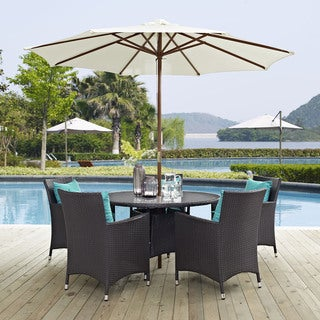 Gather Synthetic Rattan Outdoor Patio Dining Set with Umbrella (7 Piece Set)