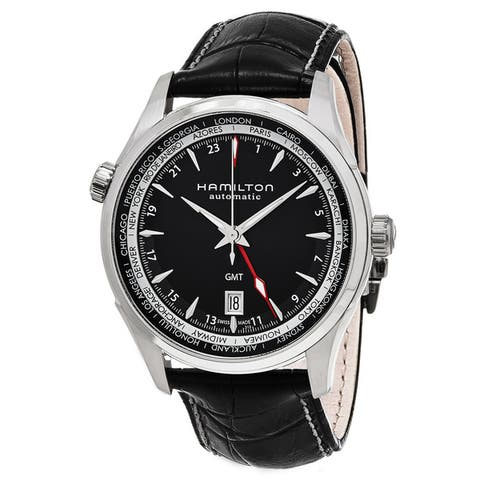 Hamilton Men's 'Jazzmaster' Black Dial Black Leather Strap GMT Auto Swiss Automatic Watch