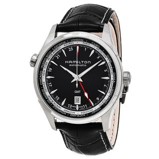 Hamilton Men's H32695731 'Jazzmaster' Black Dial Black Leather Strap GMT Auto Swiss Automatic Watch