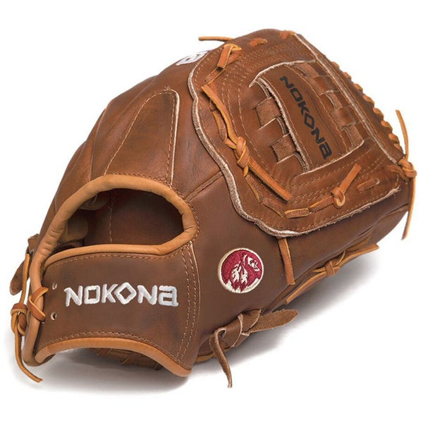 Nokona W-1300C/L Walnut 13-inch Baseball Glove with Closed Web for Right Handed Thrower