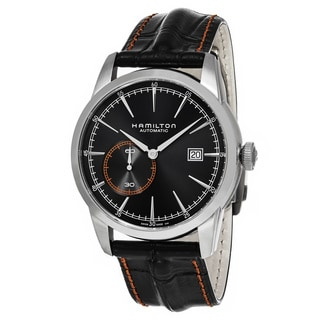 Hamilton Men's H40515731 'American Classic' Black Dial Black Leather Strap Railroad Small Seconds Sw