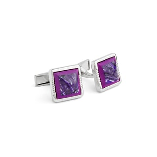 Polished Metal Purple Swirl Fashion Cufflinks