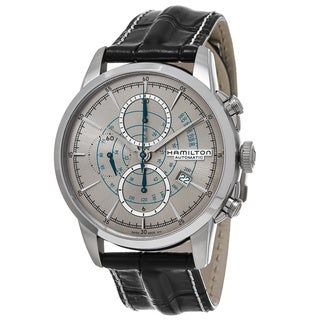 Hamilton Men's H40656781 'American Classic' Silver Dial Black Leather Strap Railroad Chronograph Swiss Automatic Watch