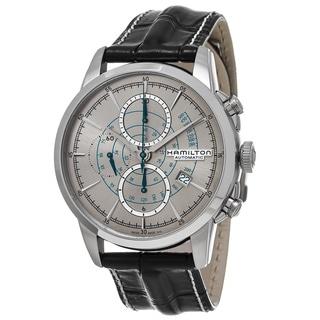 Hamilton Men's H40656781 'American Classic' Silver Dial Black Leather Strap Railroad Chronograph Swiss Automatic Watch