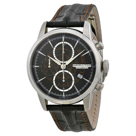 Hamilton Men's 'American Classic' Black Dial Black Leather Strap Railroad Chrono Swiss Aut