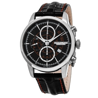 Hamilton Men's H40656731 'American Classic' Black Dial Black Leather Strap Railroad Chrono Swiss Aut