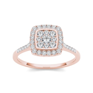 De Couer 10k Rose Gold 1/2ct TDW Diamond Cluster Engagement Ring (H-I, I2)