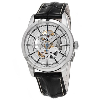 Hamilton Men's H40655751 'American Classic' Skeleton Dial Black Leather Strap Railroad Auto Swiss Au