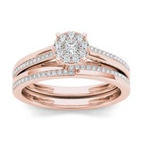 De Couer  IGI Certified 10k Rose Gold 1/3ct TDW Diamond Cluster Engagement Ring Set with One Band - Pink