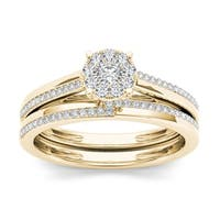 De Couer  IGI Certified 10k Yellow Gold 1/3ct TDW Diamond Cluster Engagement Ring Set with One Band