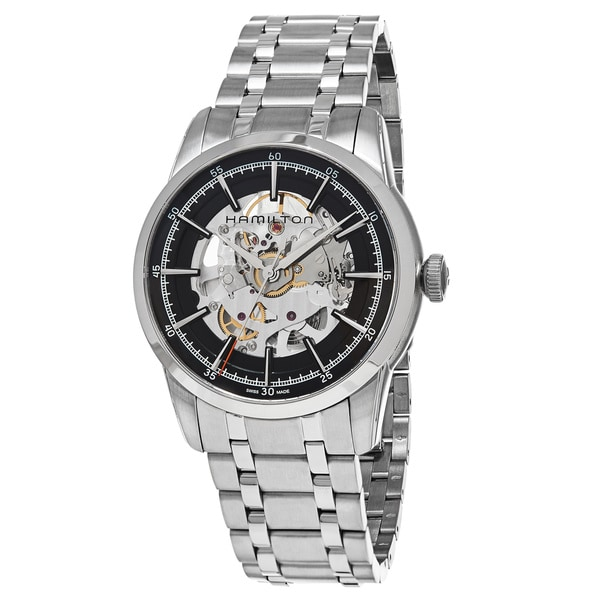 Hamilton Men's H40655131 'American Classic' Skeleton Dial Stainless Steel Railroad Swiss Automatic W