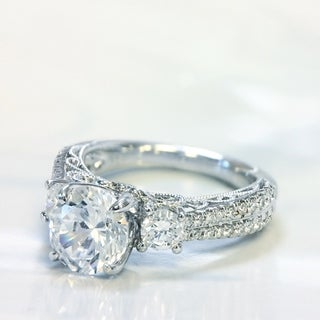 Lihara and Co. 18k White Gold 1/2ct TDW Semi-mount Diamond Engagement Ring