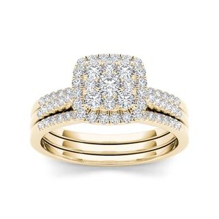 De Couer 10k Yellow Gold 1/2ct TDW Diamond Cluster Engagement Ring Set with Two Bands (H-I, I2)