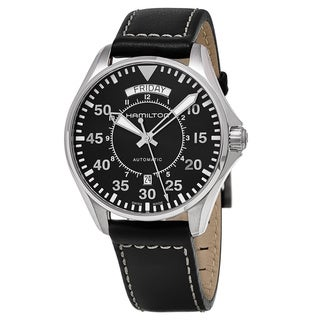 Link to Hamilton Men's  'Khaki Aviation' Black Dial Black Leather Strap Pilot Day Date Swiss Automatic Watch Similar Items in Men's Watches