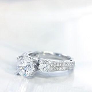 Lihara and Co. 18k White Gold 1/2ct TDW Semi-mount Diamond Engagement Ring - White G-H