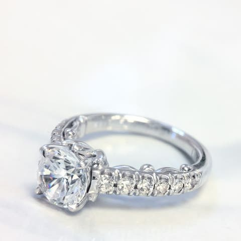 Lihara and Co. 18k White Gold 1/3ct TDW Semi-mount Diamond Engagement Ring (G-H, VS1-VS2) - White G-H