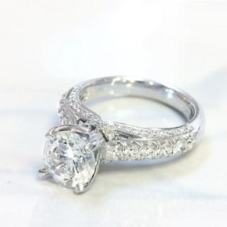 Lihara and Co. 18k White Gold 7/8ct TDW Semi-mount Diamond Engagement Ring