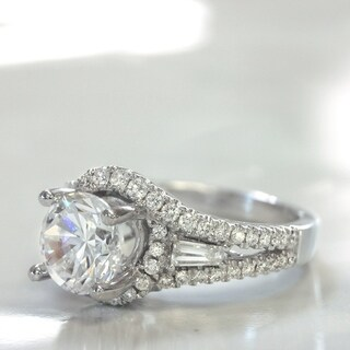 Lihara and Co. 18k White Gold 3/5ct TDW Semi-mount Diamond Engagement Ring