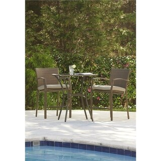 Cosco Outdoor Steel Woven Wicker High Top Bistro Set
