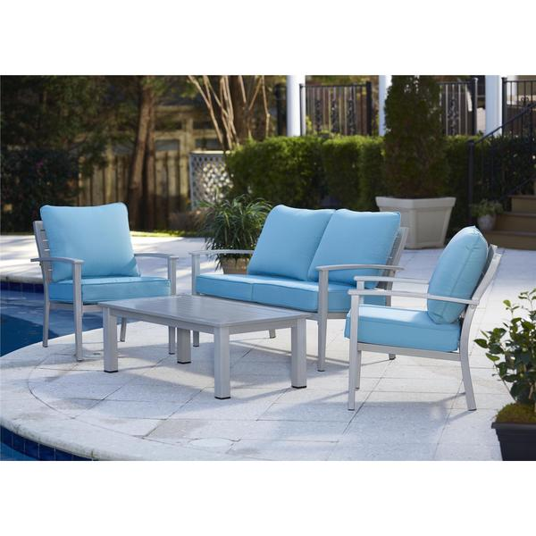 COSCO 4 Piece Outdoor Aluminum Patio Conversation Set With Coffee Table