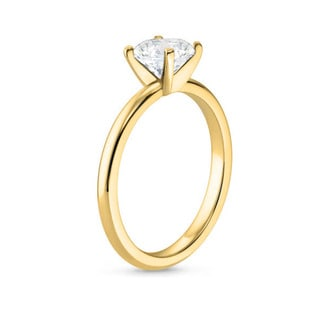 14k Gold 7/8ct TDW GIA Certified Round-cut Diamond Engagement Ring (J, VVS2)