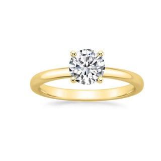 14k Gold 1 1/8ct TDW GIA Certified Round-cut Diamond Engagement Ring (F, VS2)