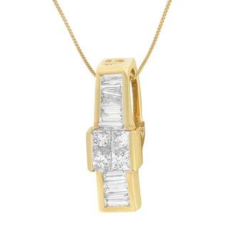 14k Yellow Gold 1 1/10ct TDW Baguette and Princess Cut Diamond Pendant (H-I, SI1-SI2)