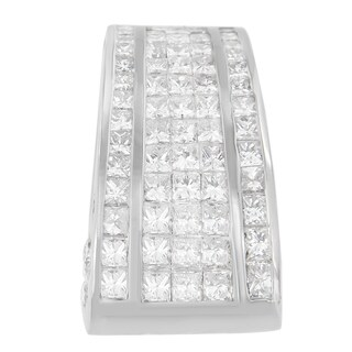 18k White Gold 2 4/5ct TDW Princess and Round Cut Diamond Pendant (H-I, SI1-SI2)