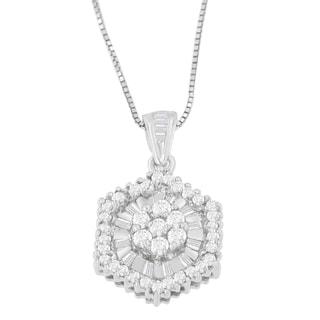 14k White Gold 5/8ct TDW Baguette and Round Cut Diamond Pendant (H-I, I1-I2)