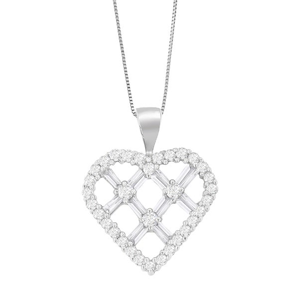 Shop 14k White Gold 1ct Tdw Round And Baguette Cut Diamond