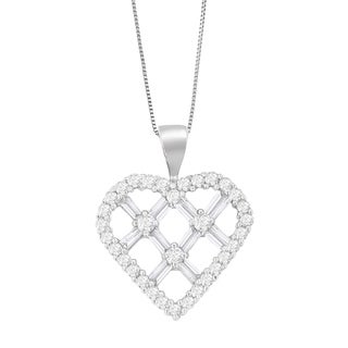 14k White Gold 1ct TDW Round and Baguette Cut Diamond Heart Shaped Pendant Necklace (H-I, I1-I2)