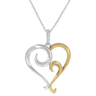 Two-tone Sterling Silver Heart Shaped Pendant