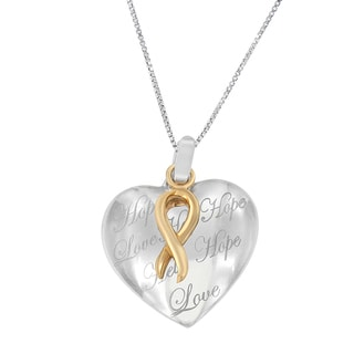 10k Yellow Gold Plated Silver Heart Pendant Necklace