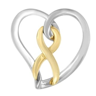 14k Gold over Silver Heart Bow Pendant