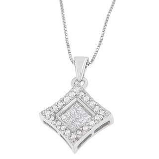 14k White Gold 1/5ct TDW Round and Princess Cut Diamond Pendant (H-I, SI1-SI2)