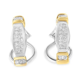 14k Two Tone Gold 1/2ct TDW Round and Princess Cut Diamond Earring (H-I, SI2-I1)